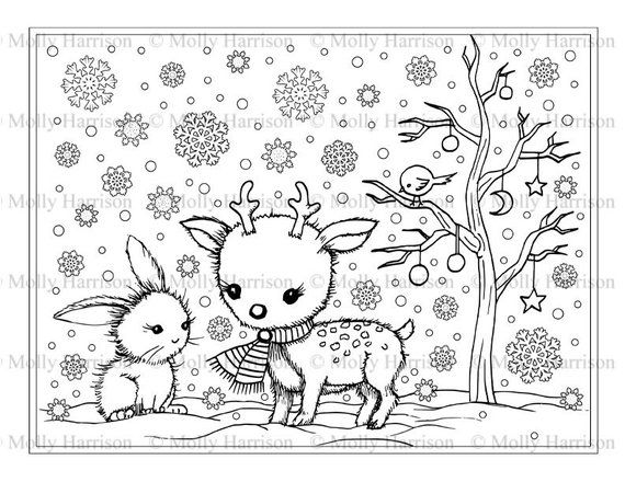 Little Fawn with Bunny #2 Coloring Page - Printable ...