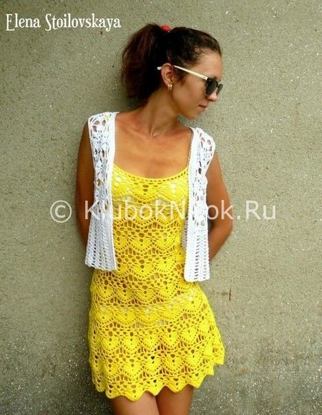 Схема вязанного пляжного платья крючком