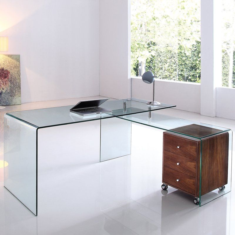 This Executive Desk With Clear Glass Features Clean And Modern Lines Adding A Sophisticated Look A Glass Desk Office L Shaped Executive Desk Home Office Design
