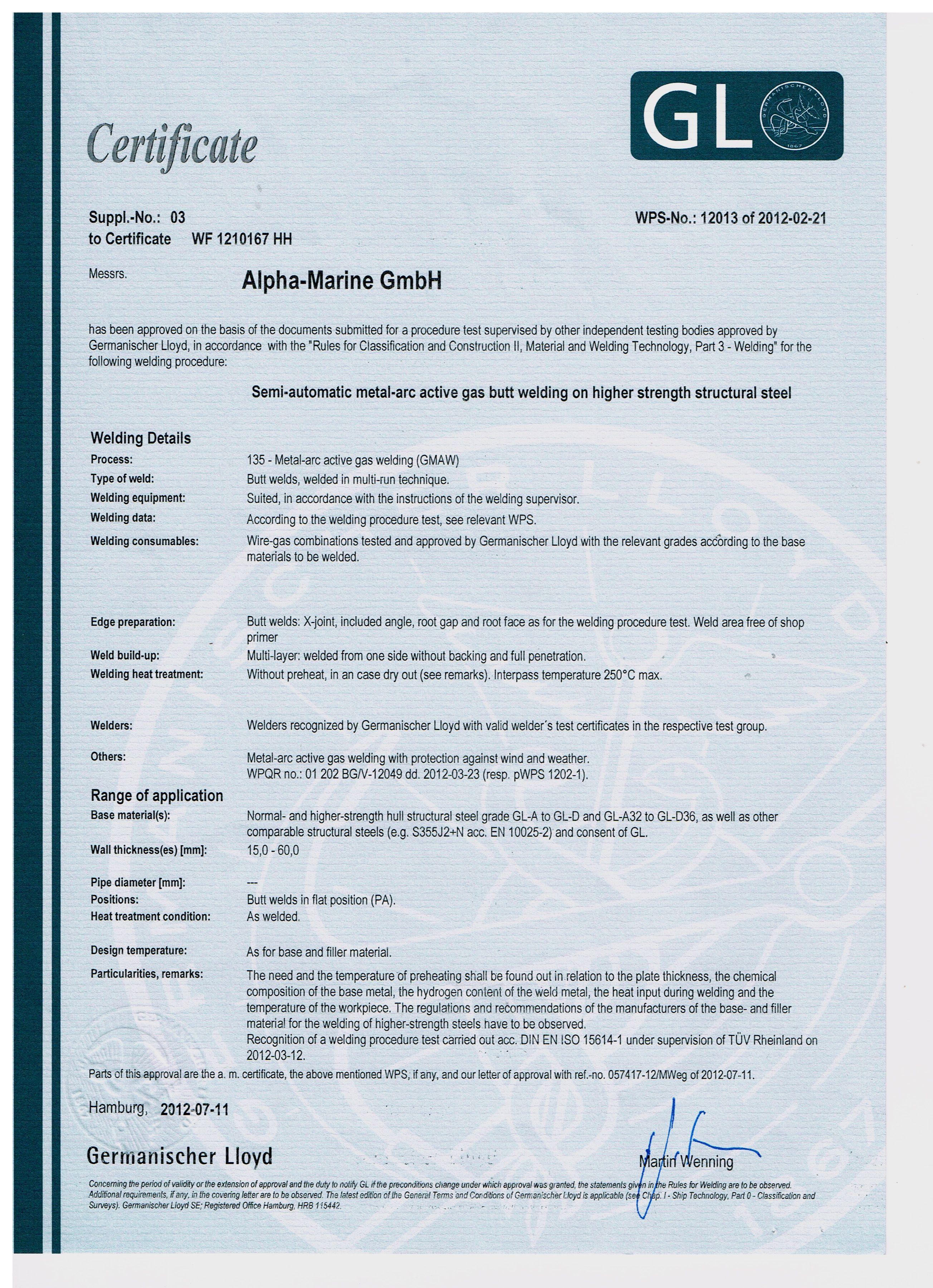 АЛФА МАРИНЕ ООД Alpha Marine Gmbh Welding Certificate