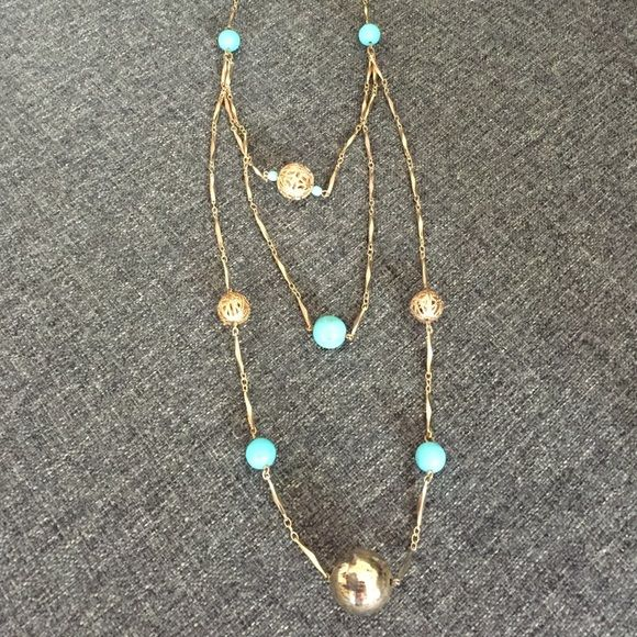 Anthropologie Gold and Turquoise Necklace Gold and turquoise triple strand statement necklace from Anthropologie. Adjustable in back with clasp. 16 inches. Jewelry Necklaces