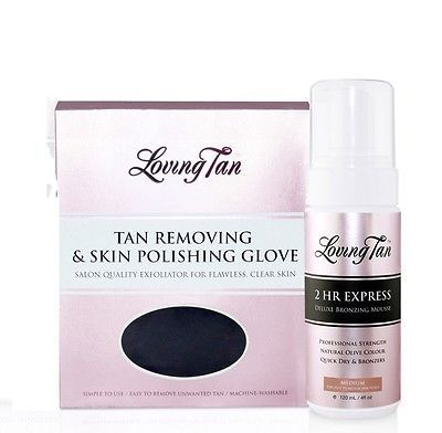 Sunless Tanning Products: Medium Loving Tan 2 Hour Express Deluxe Bronzing Mousse And Skin Polishing Glove BUY IT NOW ONLY: $55.95
