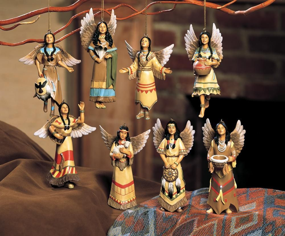 Native american ornaments - 8 Pc Native American Maiden Angel Christmas Tree Ornament Set New Ebay