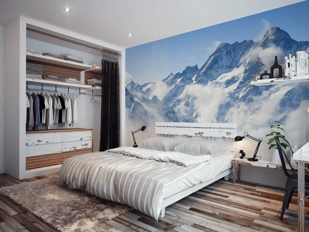 Wonderful Mountain Wallpaper In Bedroom Design With Wooden Floor And Closer  Frame Black Sliding Curtain Wonderful