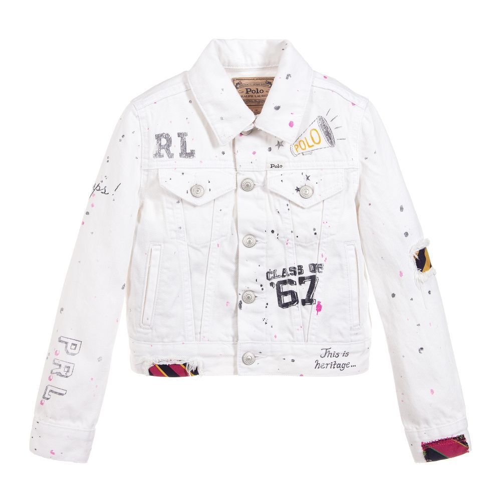 a7f7e522e Girls ivory denim jacket from Polo Ralph Lauren, made in mid-weight ...