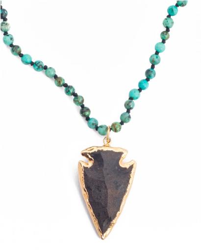 Sea + Stone Jewelry | African Turquoise + Vermeil Obsidian Arrowhead