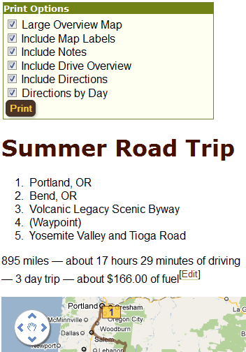 Print A Step By Step Itinerary Of Your Road Trip With All The