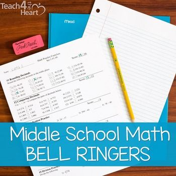 Bell Ringers for Middle School Math COMPLETE SET (Bellwork / review ...