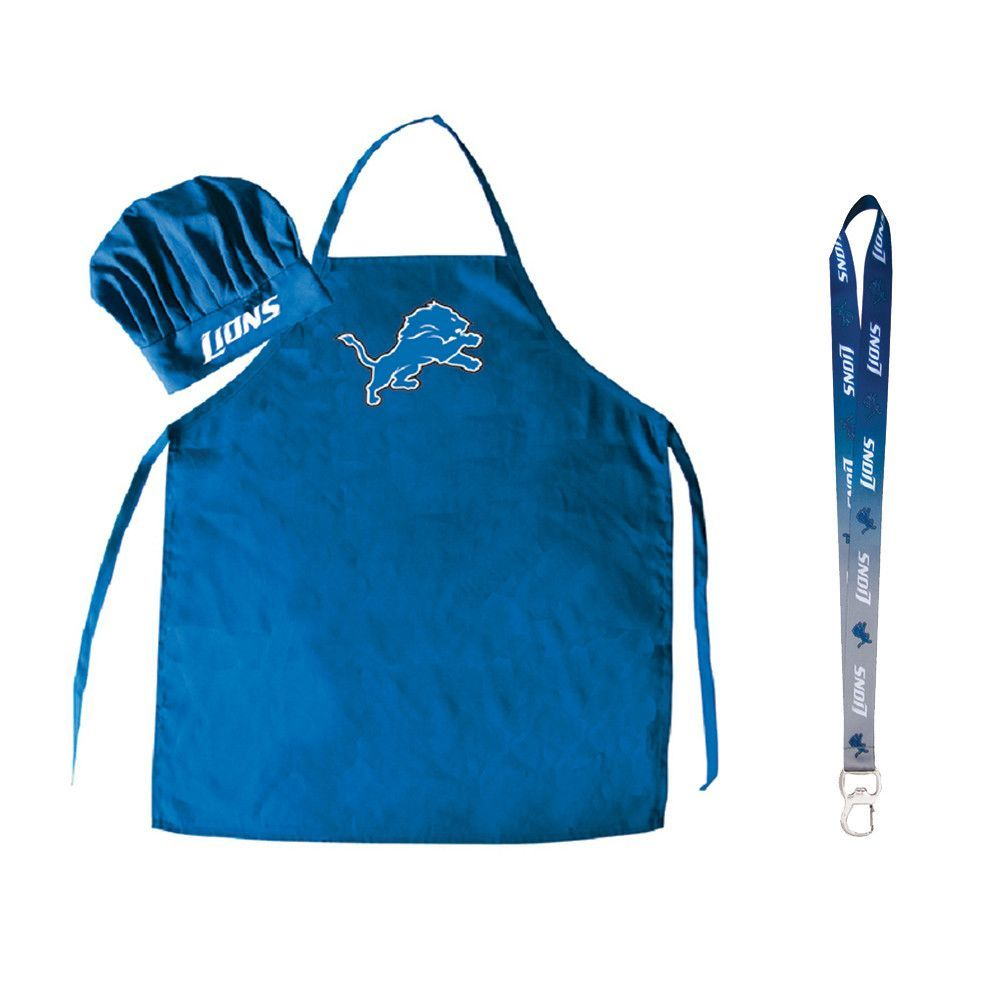 Detroit Lions NFL Barbeque Apron and Chef\'s Hat with Bottle Opener ...