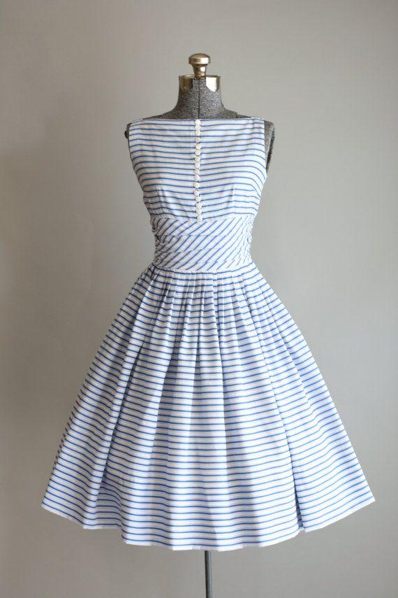 a4de2e1053 Vestido De Rayas · Diseños De Época · Vintage 1950s Jonathan Logan Blue Striped  Dress Vestidos De 1950