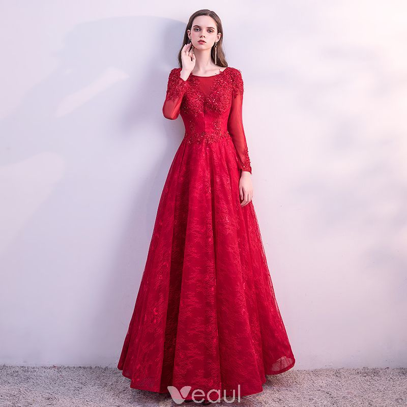 Chic / Beautiful Red Prom Dresses 2018 A-Line / Princess Lace Flower ...