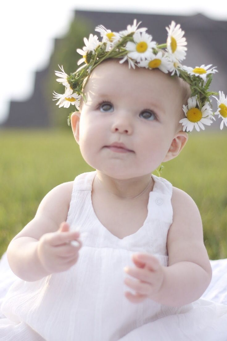I love this photograph of this baby with the halo of daisies the precious child daisies love the flower crown could use a flower headband izmirmasajfo Gallery