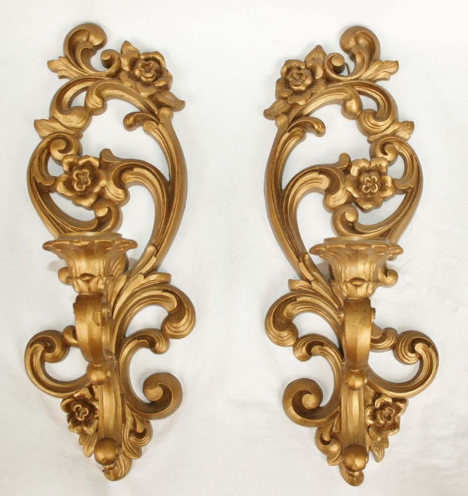 Vintage 1971 Homeco Gold Wall Sconce Candle Holder ... on Vintage Wall Sconce Candle Holder Decorating Ideas id=31885