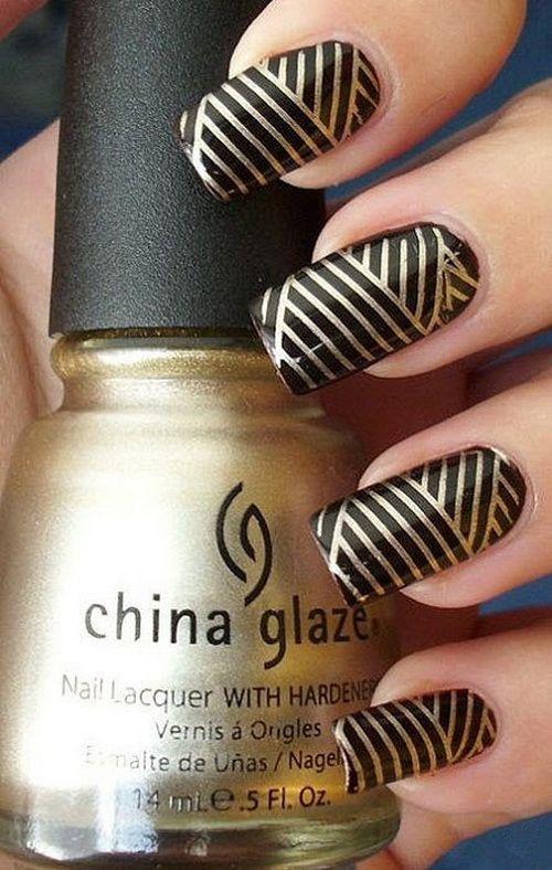 Golden black nail art nail art designs 2015 pinterest black golden black nail art prinsesfo Gallery