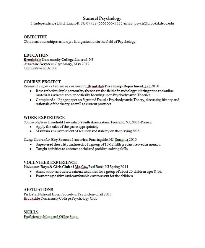 sample resume format psychology graduate school admissions photo