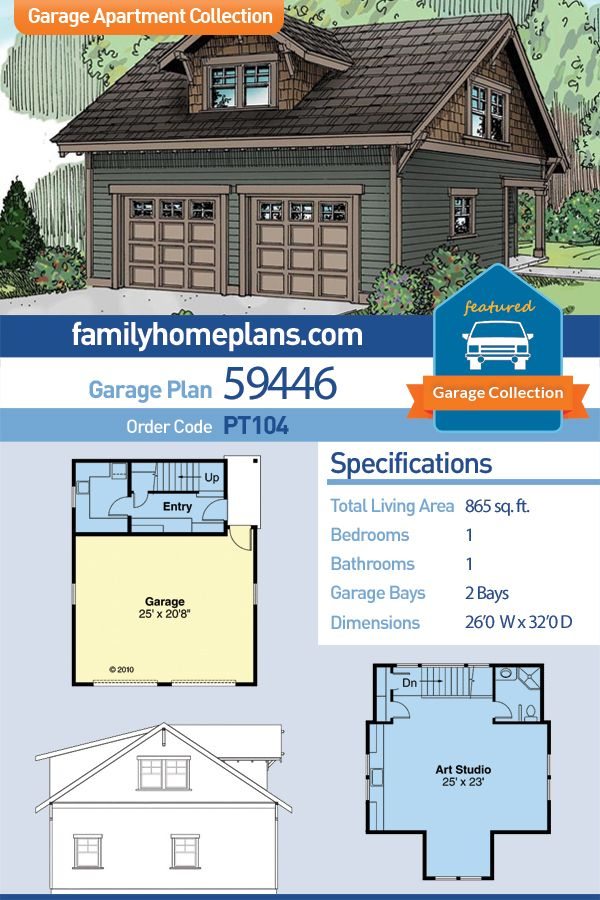Two Car Garage Art Studio Plan with Bathroom and Laundry Room - Craftsman Style