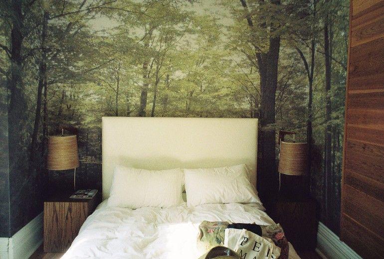 Master bedroom with forest landscape wallpaper    www.masterbedroomideas.eu    #luxuryfurniture #exclusivedesign #interiodesign #designideas #masterbedroom #masterbedroomideas #wallpaper #wallpaperdesign