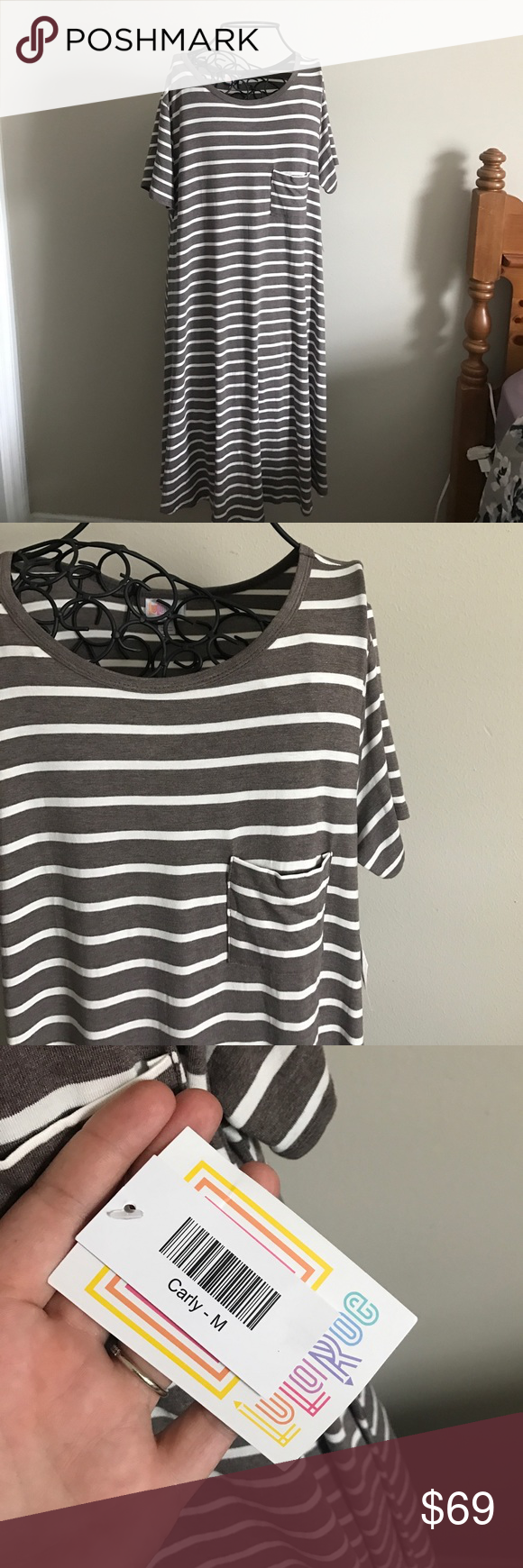 "Medium Carly Dress. New with tags. Super soft, stretchy material. Size medium. White and brownish gray striped. Super comfortable and versatile. 95% rayon, 5% spandex. ❌ No trades or off Poshmark transactions.   👌🏻Quick shipping.   💁🏻Offers welcome through ""Make an Offer"" feature.   👗👠 Bundle discount.   ❔ Feel free to ask any questions. LuLaRoe Dresses"