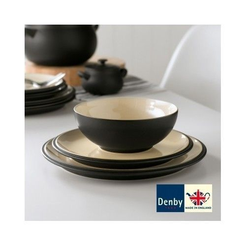 12 Piece Dinner Set Black Denby Pottery Stoneware Cook Dining Table Plates Bowls