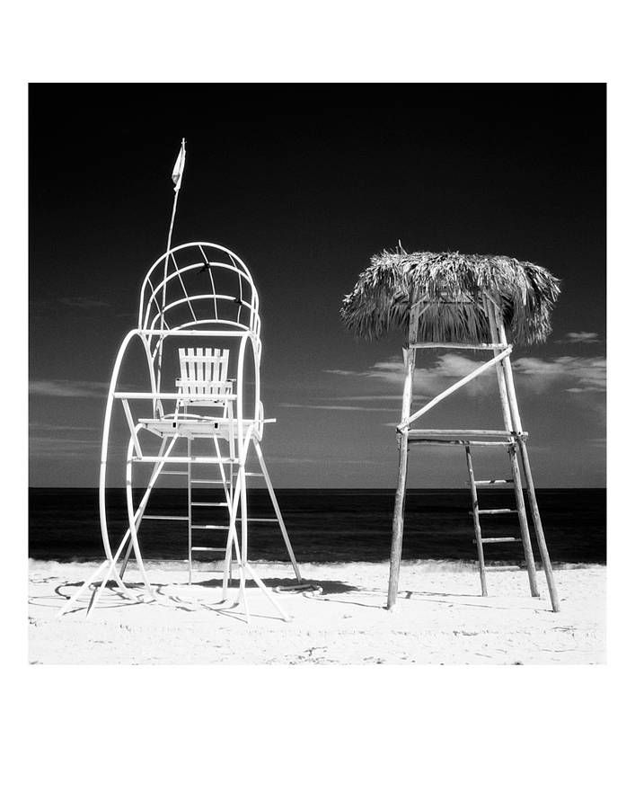 Title lifeguard towers santa maria beach havana cuba infrared film black and white print £80 00