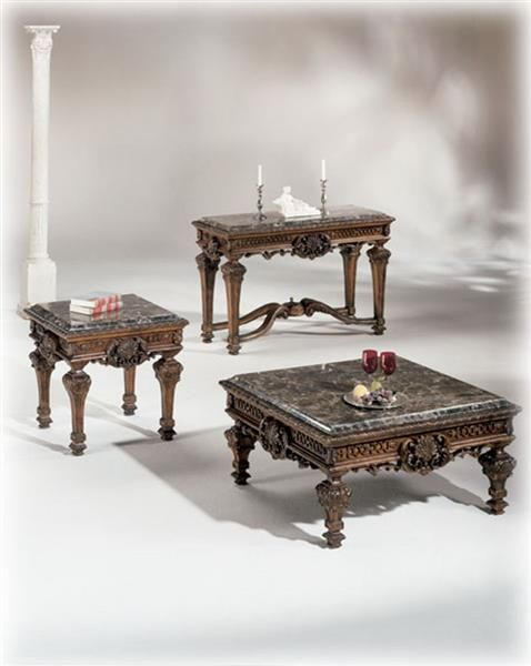 Casa Mollino Traditional Dark Brown Wood Marble Coffee Table Set