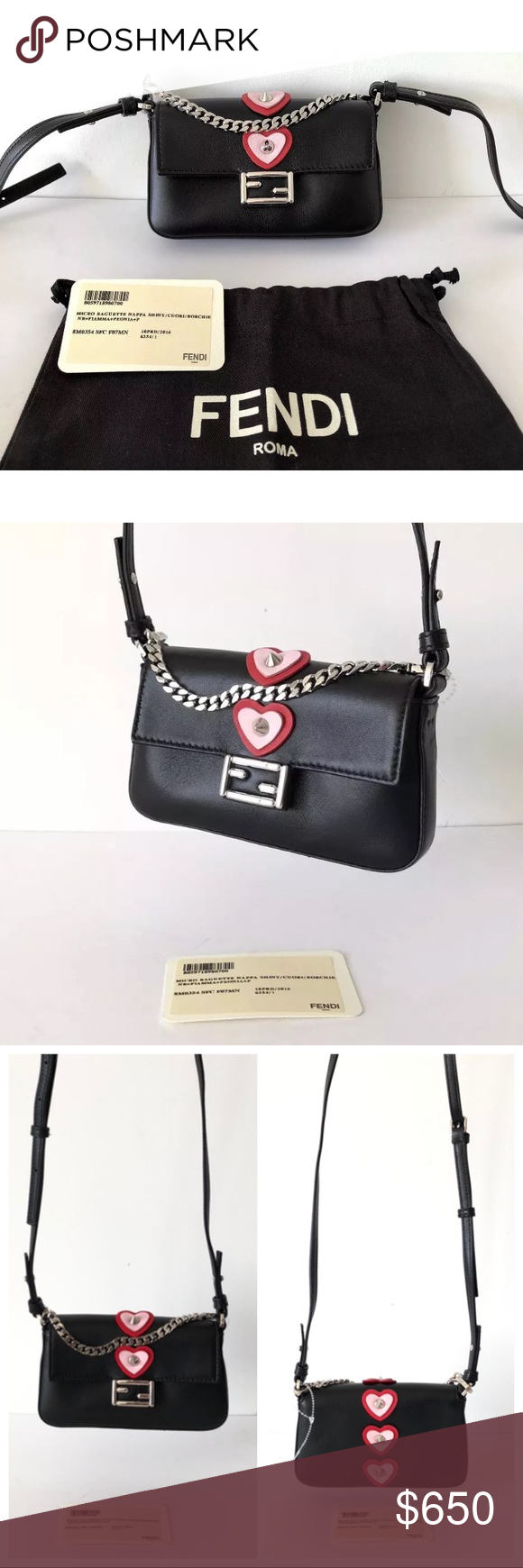 a5222f7db078 FENDI MICRO BAGUETTE HEART CROSS BODY NAPPA BAG Condition  Brand New Item  With Dust Bag