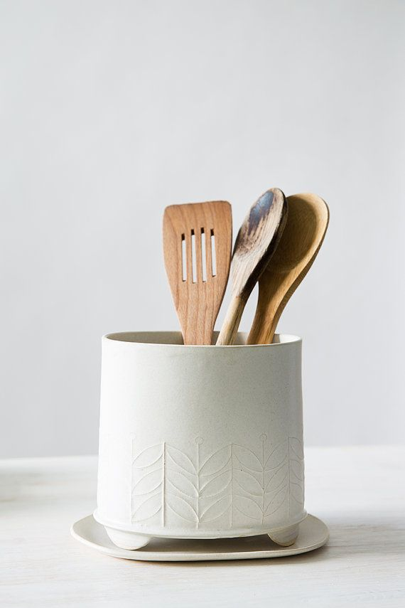 Ceramic Utensil Holder White Storage Pot Modern Kitchen Etsy In