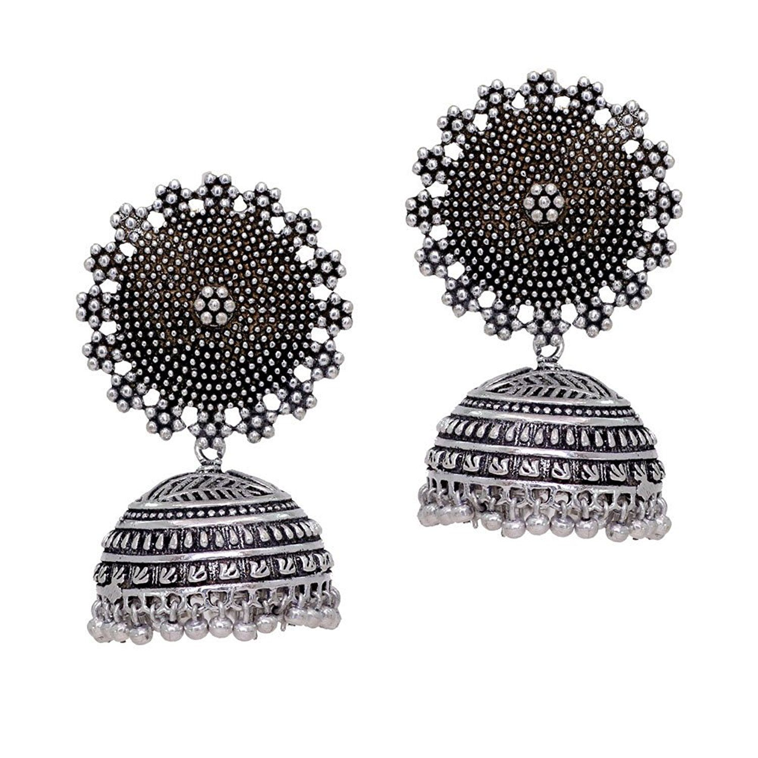 5094d7019 Buy Jaipur Mart Oxidised Silver Plated handmade Jhumka Jhumki Earrings For  Women Online at Low Prices in India | Amazon Jewellery Store - Amazon.in