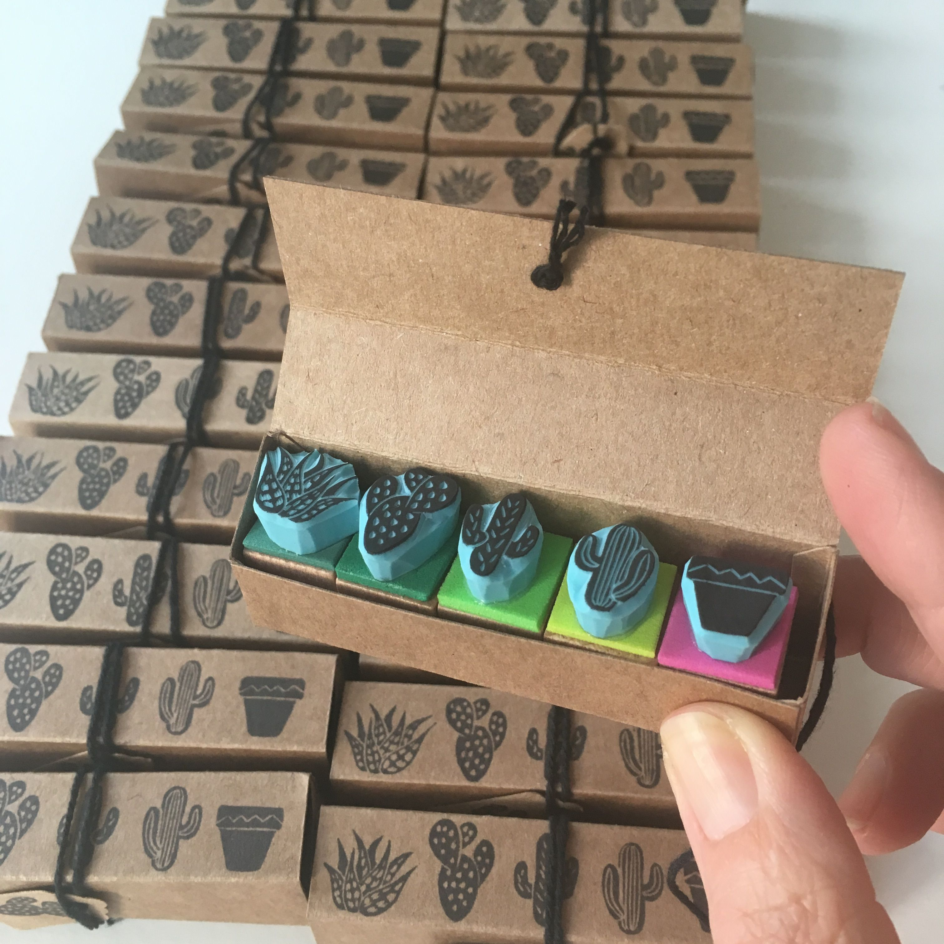A Bunch Of Mini Cactus Sets Ready To Be Shipped Hand Carved Rubber Stamps By CassaStamps