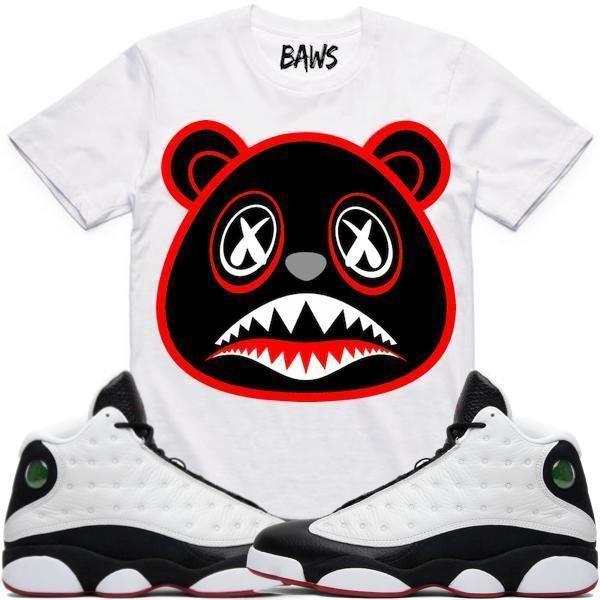 new arrivals 006d9 b050f BRED BAWS White Sneaker Tees Shirt - Jordan 13 He Got Game