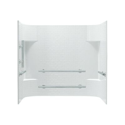 "Sterling by Kohler Accord 3-Piece 31.25"" x 60"" x 56.25"" Wall Set with Grab Bars on Left Finish: White"