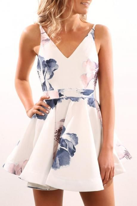 Spaghetti Straps V-Neck Homecoming Dress,Print Satin Short Party Dress #homecomingdresses