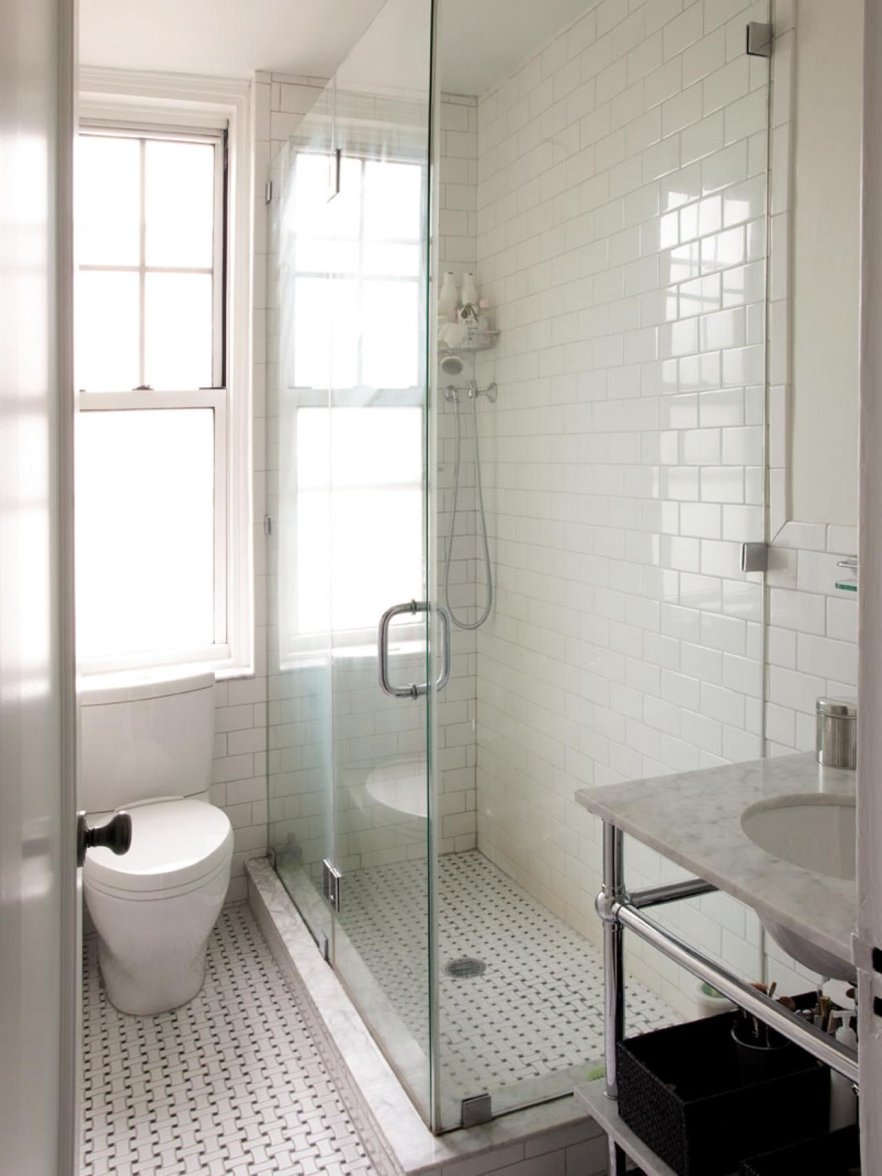 i like the marble sink and the floor Clean white subway tile lining ...