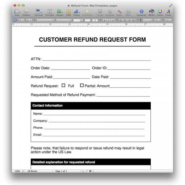 Refund Request Form Template For Pages - Mactemplates.Com | Pages