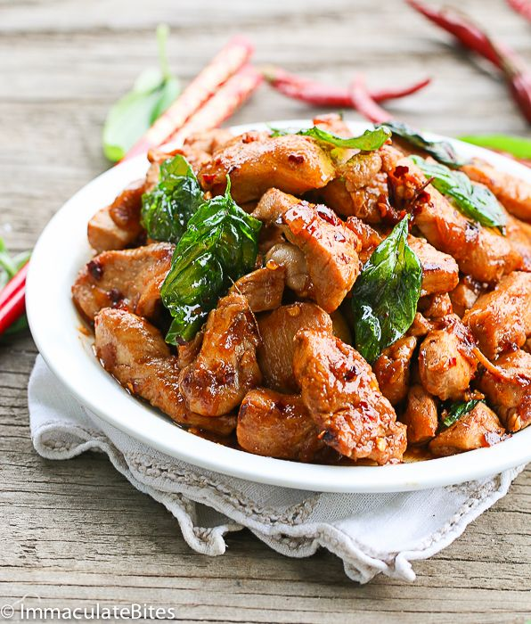Thai Basil Chicken-Make this takeout at home in less than 20 minutes. It's insanely flavorful,healthier, and lighter than the takeout version and guaranteed hit with the family.
