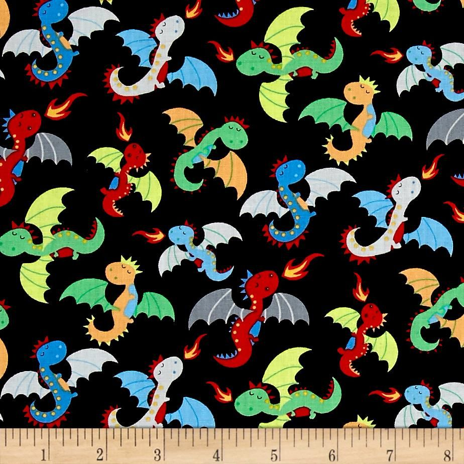 Timeless Treasures Knight In Shining Armor Tossed Dragons Black ... : dragon fabric for quilting - Adamdwight.com