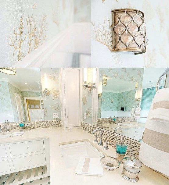 bathroom decor ideas beach theme accessories and pinterest blissful homemaking - Beach Style Bathroom