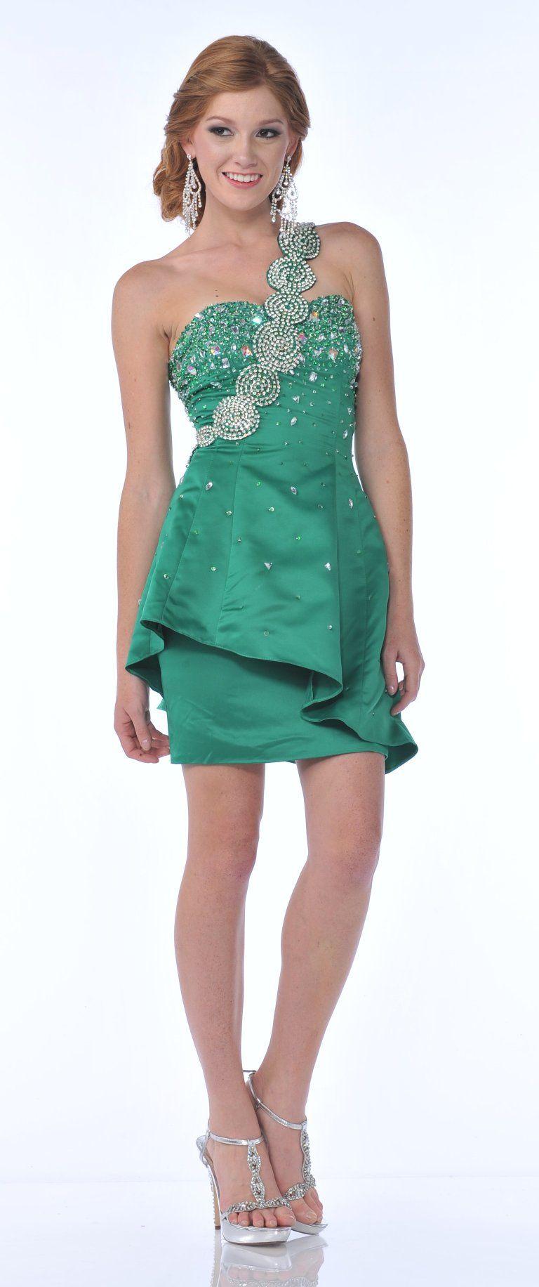 Single Shoulder Strap Dark Green Short Satin Cocktail Dress ...