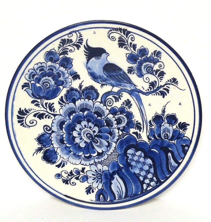 Vintage Delft Blue Bird White Wall Plate 8 Holland Decorative Dutch Painted Blue Bird Delft Dutch Decor