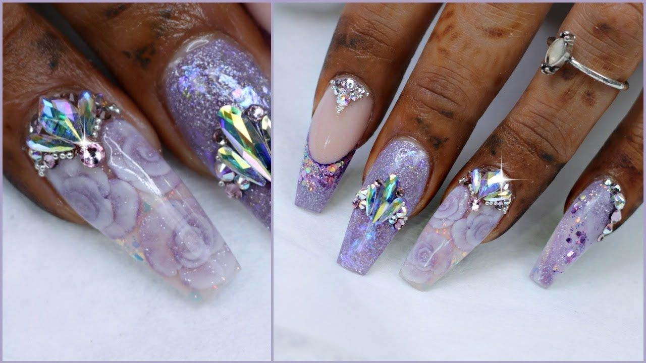 Purple Marble Nails With Encapsulated Flowers Youtube Bridal