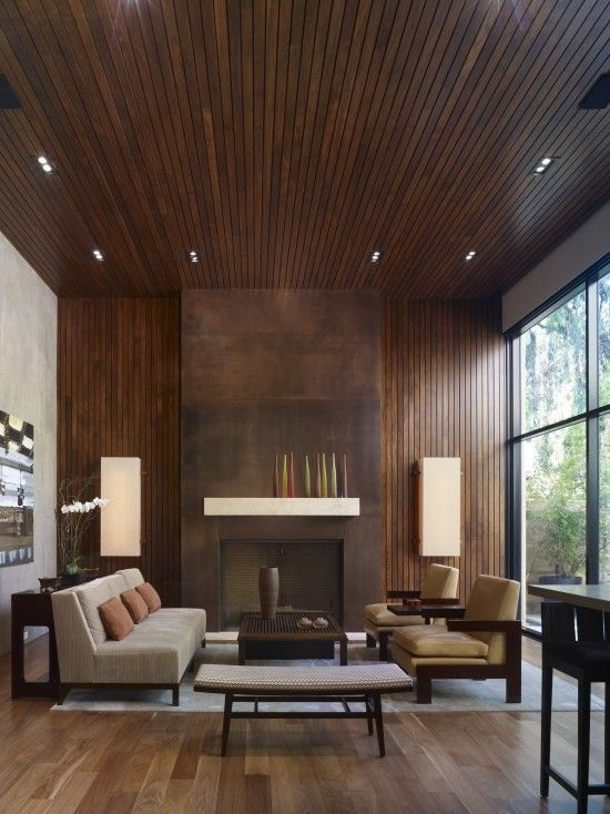 Wood Ceiling And Wall Awesome Fireplace Too Modern Living Room Interior Living Room Design Modern Living Room Interior