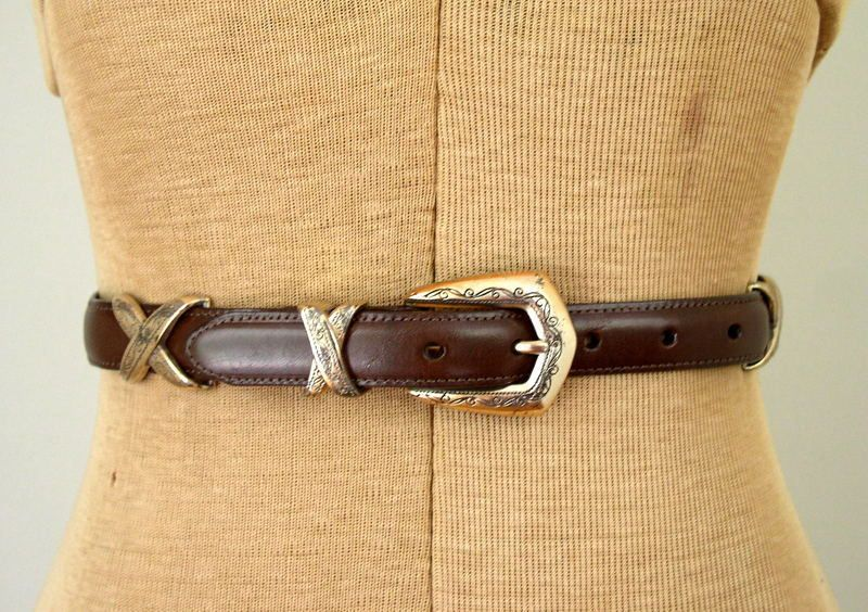 Vintage 1990s Brighton brown leather belt with silver etched