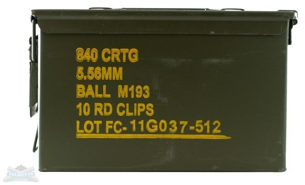 Federal 5 56 55gr Clipped In 840rd Ammo Can Xm193k Ammo Cans