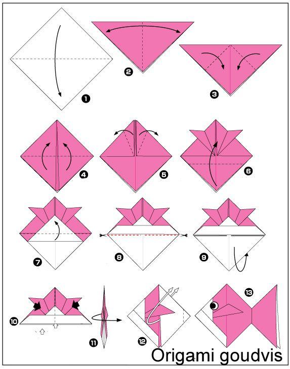 Origami Goudvis Vouwen