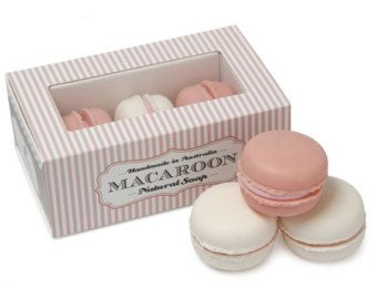 Natural Handmade Macaroon Soaps Pack of 3 - Pink and cream