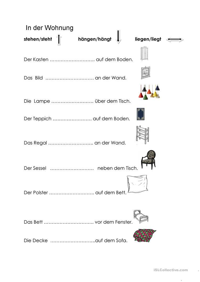 stehen-hängen-liegen Arbeitsblatt - Kostenlose DAF Arbeitsblätter ...