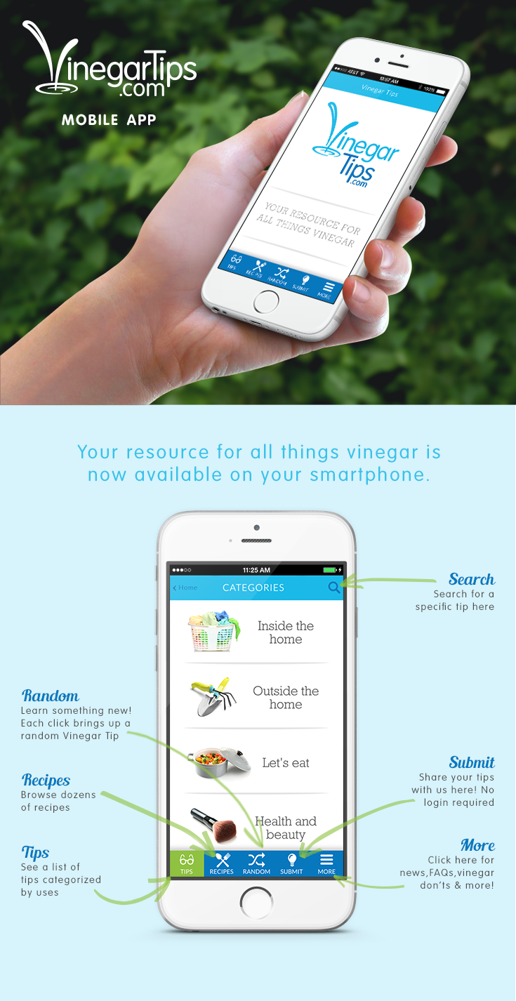 Download the free Vinegar Tips app to access over 300