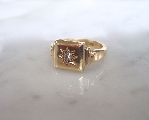 Gold & Diamond Ring  Gents or Ladies Heavy Signet by RainOnTheWind