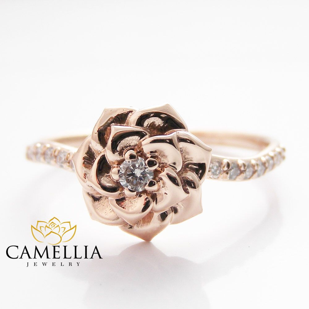 popular of camellia diamond attachment gold rings flower at ring engagement size by chanel handphone download