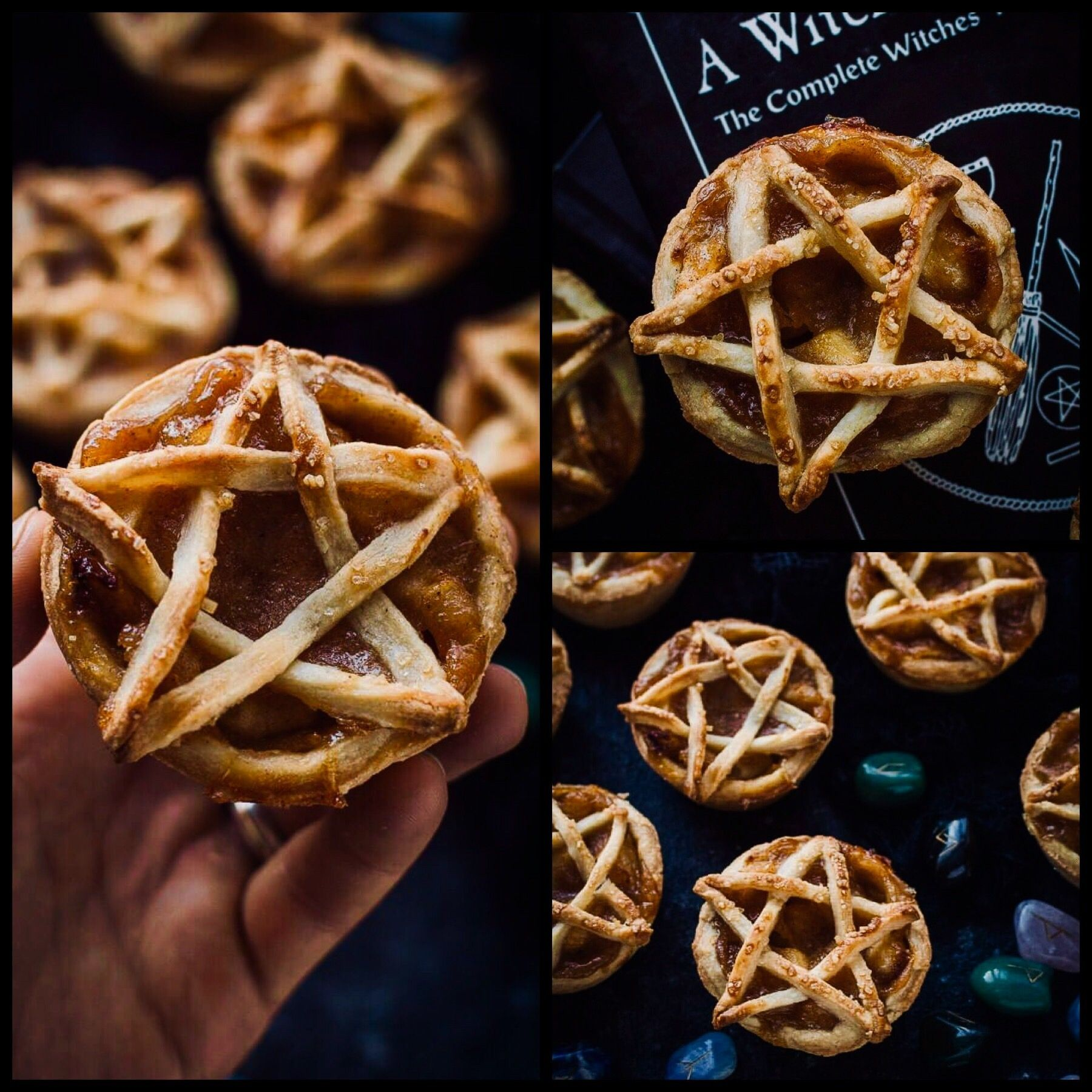Topped Vegan Apple Pies  These are such a good idea for Samhain!  Pentagram Topped Vegan Apple Pies